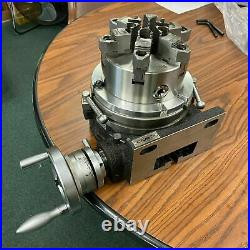 10 HORIZONTAL & VERTICAL ROTARY TABLE w. 8 6 jaw chuck & centering adapter