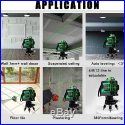 3D 12 Line Laser Level Self-Leveling 360° Rotary Horizontal Vertical with Tripod