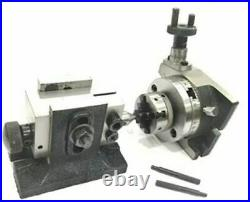 3/ 80mm Rotary Table with Chuck and Tailstock Milling Indexing Machine Tools