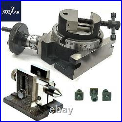 3 Inch Rotary Table H/V 4 Milling Slots With Tailstock And Vice 80mm Round Vise
