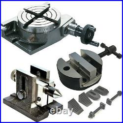 3 Rotary Table 4 Slots With Vise 80mm Round Vice With Tailstock & Clamping Kit