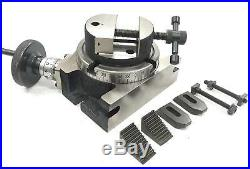 4100mm Rotary Table Horizontal Vertical+80 MM Round Vice+m6 Clamp Kit