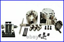 4 ROTARY TABLE 100MM SELF CENTERING 3JAW CHUCK with TAILSTOCK & CLAMPING KIT