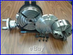 8 HORIZONTAL & VERTICAL ROTARY TABLE w. Adapter & 6 3-jaw chuck, #IN-TSL8-C6