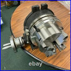 8 HORIZONTAL & VERTICAL ROTARY TABLE w. Adapter & 6 4-jaw chuck, #IN-TSL8-C6