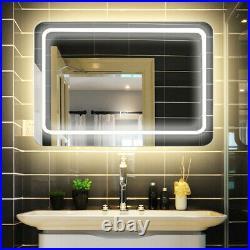 Large LED Mirrors Bathroom Mirror Lighting Fogless / Built-in Circular Magnifier