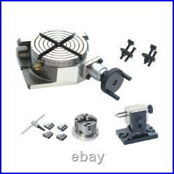 New Toolman Rotary Table 3/75mm 4jaw Chuck with Back Plate Tail Stock Clamp Set