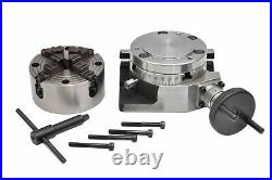 ROTARY TABLE 4/100mm WITH 100mm 4 JAW INDEPENDENT CHUCK & BACKPLATE