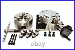ROTARY TABLE 4/100mm WITH 80mm 3 JAW SELF CENTERING CHUCK & BACKPLATE