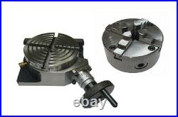 Rdg 4 / 100mm 4 Slot Rotary Table Horizontal / Vertical With 4 Jaw Aed Chuck