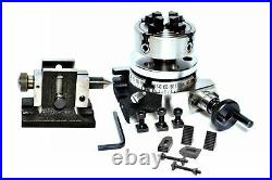 Rotary Table 3/ 75 mm with 70 mm Independent Chuck + Clamping kit & Tailstock