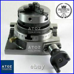 Rotary Table 3 80mm Horizontal Vertical + 65mm 3 jaw self centering chuck Atoz