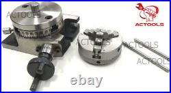 Rotary Table 4 100mm Horizontal And Vertical With 65mm 3 Jaw Chuck Backplate
