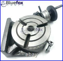 Rotary Table 4 100mm Horizontal Vertical MT2 Bore 3 Slot With 65MM Chuck Arbour
