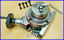 Rotary Table 4 100mm Horizontal & Vertical With 65mm 3 Jaw Chuck & Backplate