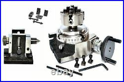Rotary Table 4 + 70 MM Independent Chuck + Tailstock + Clamping Kit
