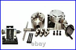 Rotary Table 4 Hor&Ver withh 80mm Self Centering Chuck with Backplate & Tailstock