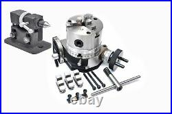 Rotary Table 4 Tilting + 100 MM Self Centering Chuck + Adjustable Tailstock