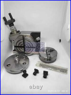Rotary Table Horizontal & Vertical 3/80mm with50mm Lathe Chuck + Backplate+T nut
