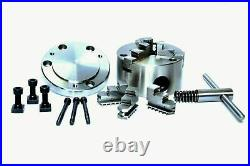 Rotary Table Horizontal & Vertical 4 / 100 mm with 80 mm Lathe Chuck & BackPla
