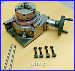 Rotary Table Horizontal and Vertical 4 100mm With 65mm 3 Jaw Chuck & Backplate